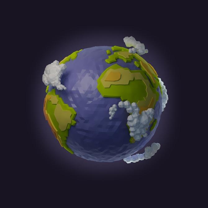 Земной шар low-poly
